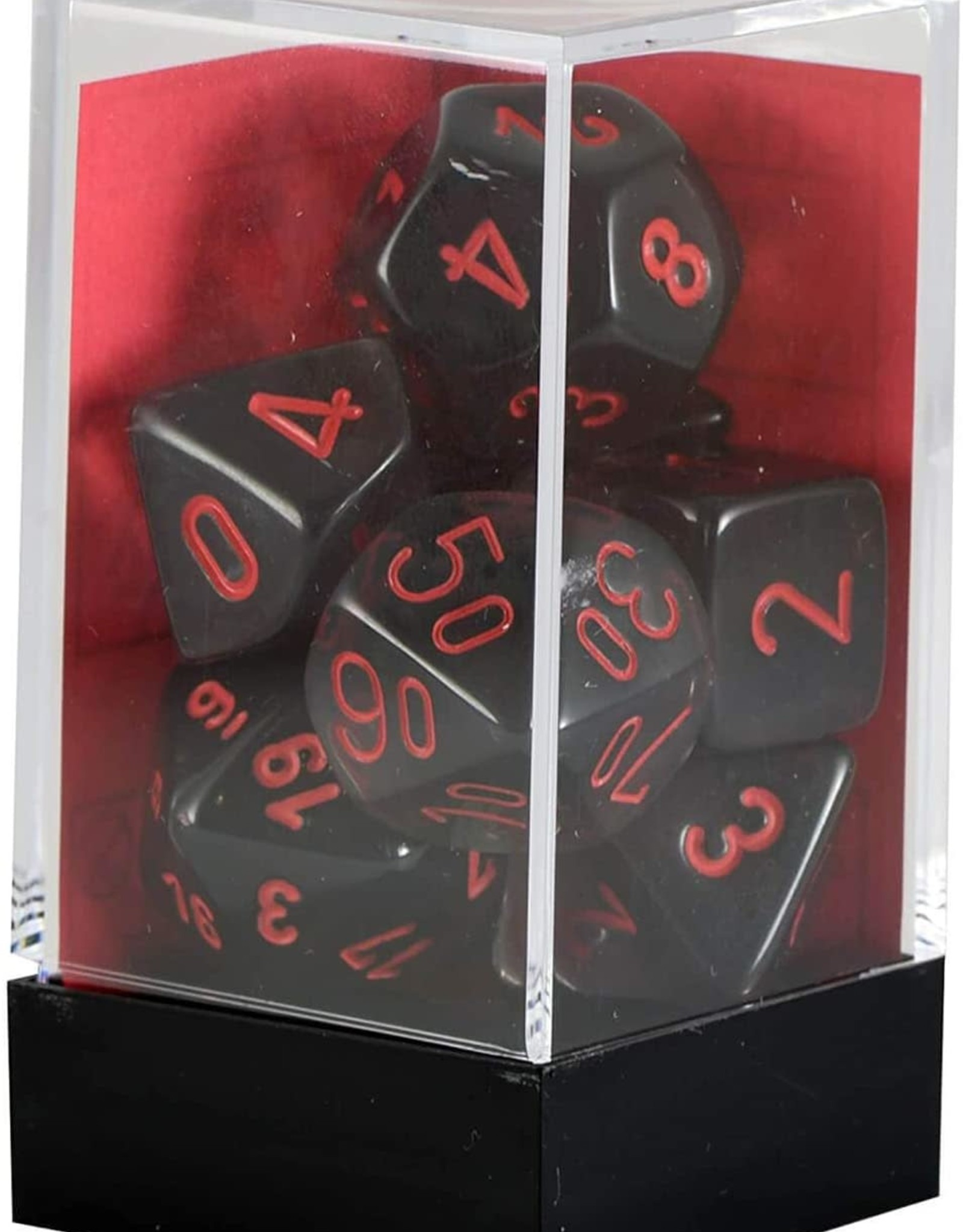 Chessex Translucent Smoke w/red Polyhedral Set