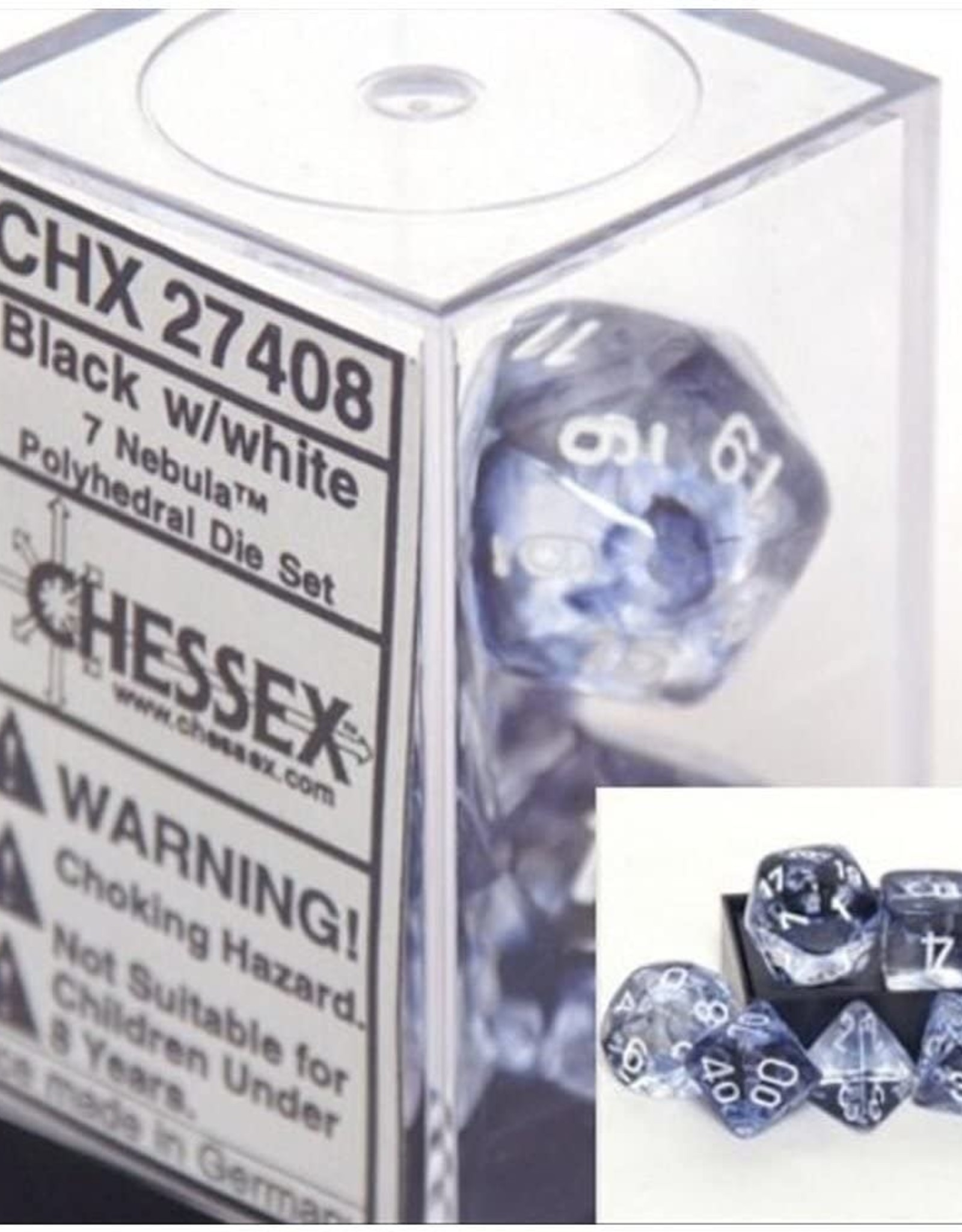 Chessex Nebula Black w/white polyhedral Set