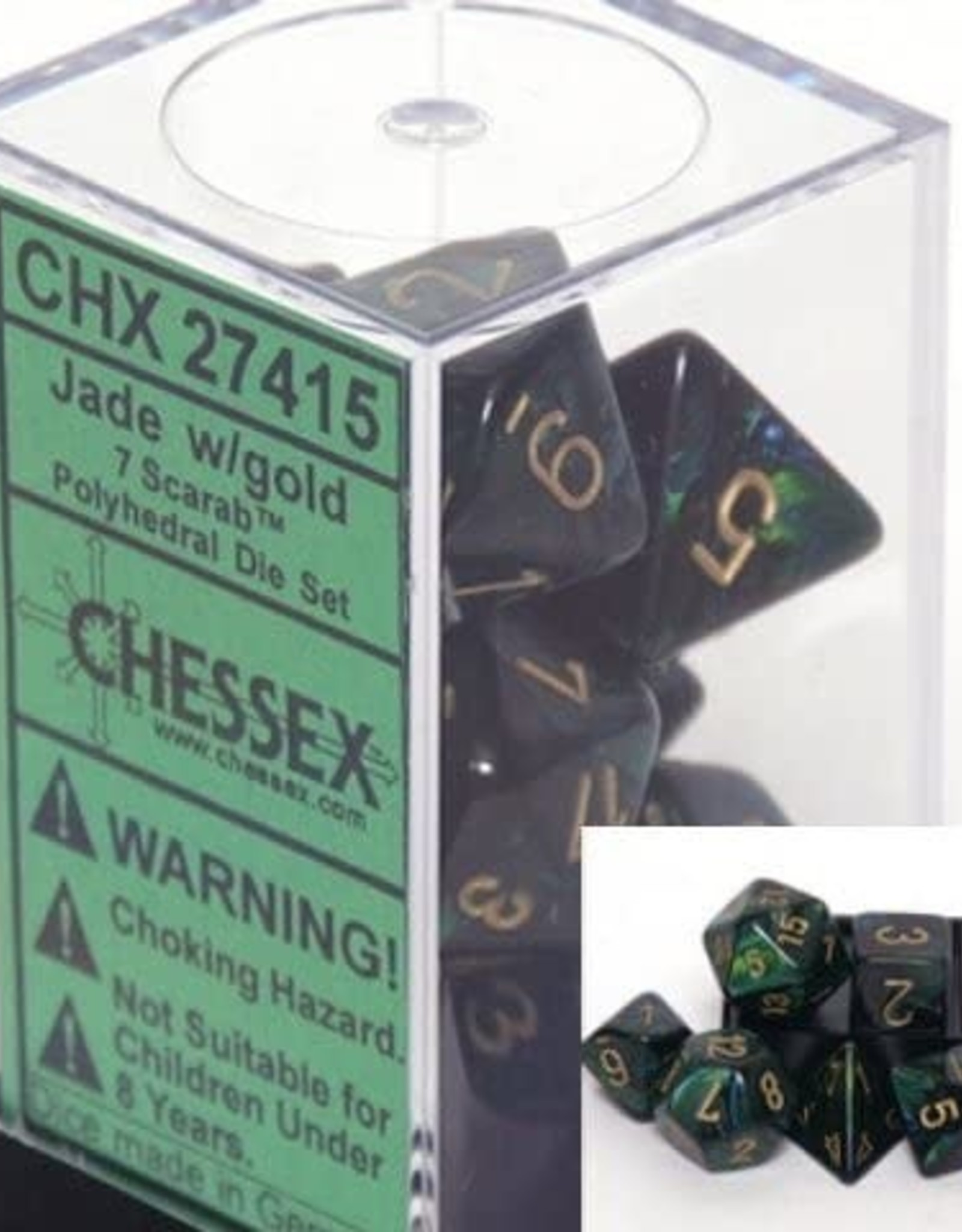 Chessex Scarab Jade w/gold Polyhedral Set