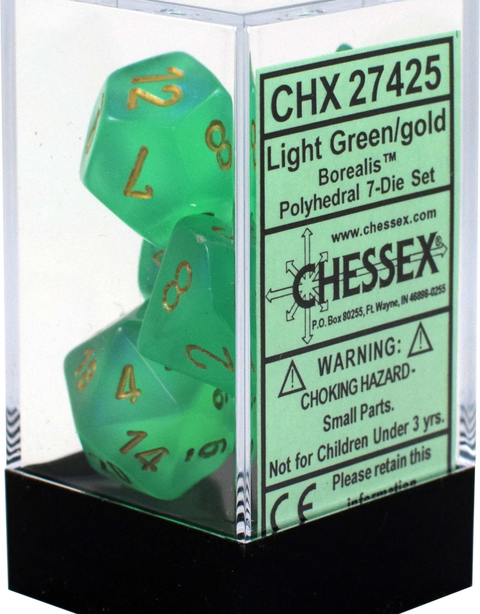 Chessex Borealis Light Green/Gold Polyhedral Set