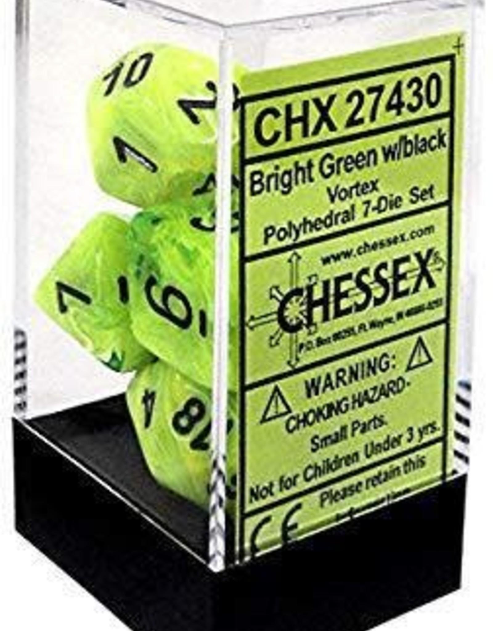 Chessex Vortex - Bright Green/Black Polyhedral Set
