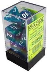 Chessex Festive Waterlily w/White Polyhedral Set