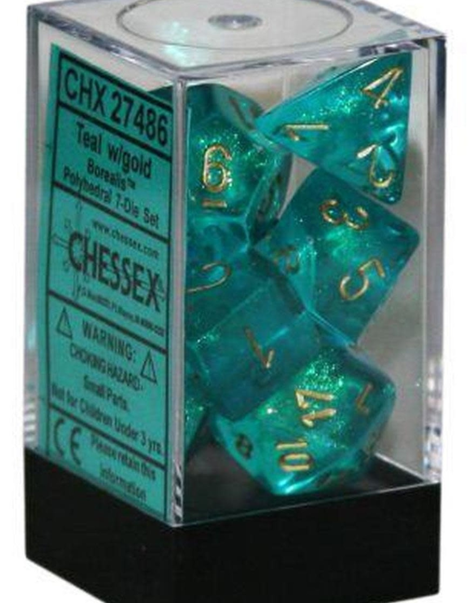 Chessex Borealis Teal/Gold Polyhedral Set