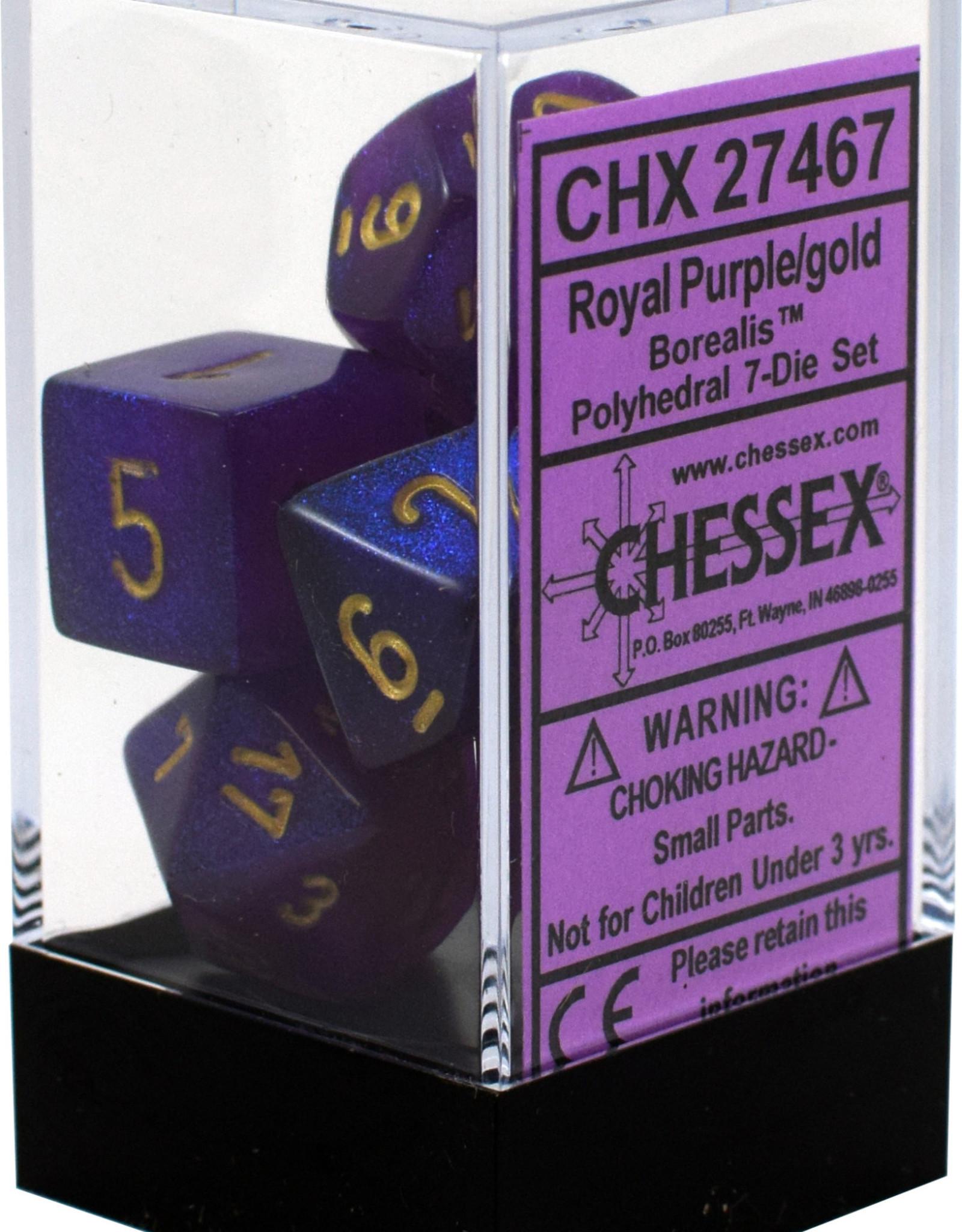 Chessex Borealis Royal Purple/gold Polyhedral Set