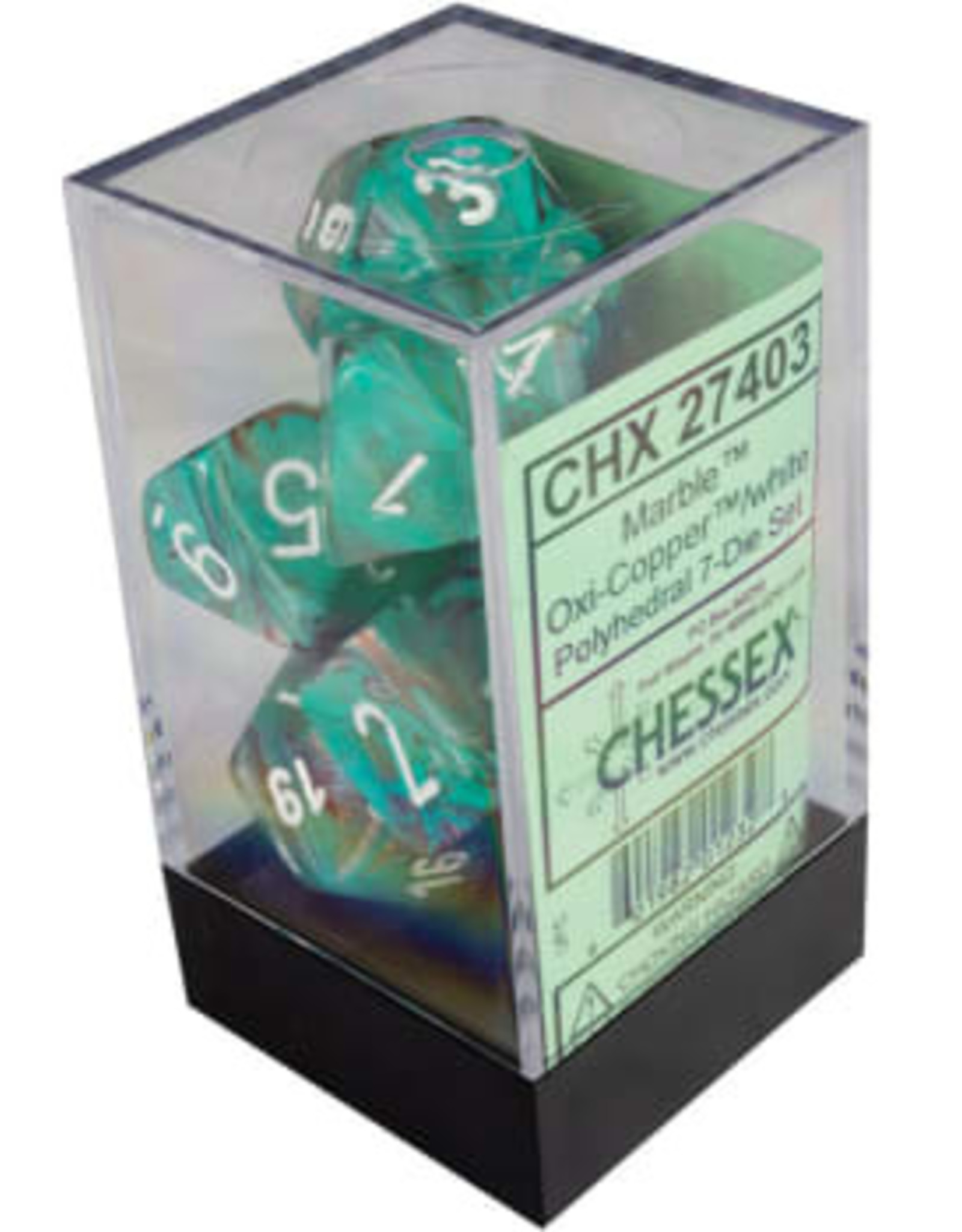 Chessex Marble Oxi-Copper/white Polyhedral Set