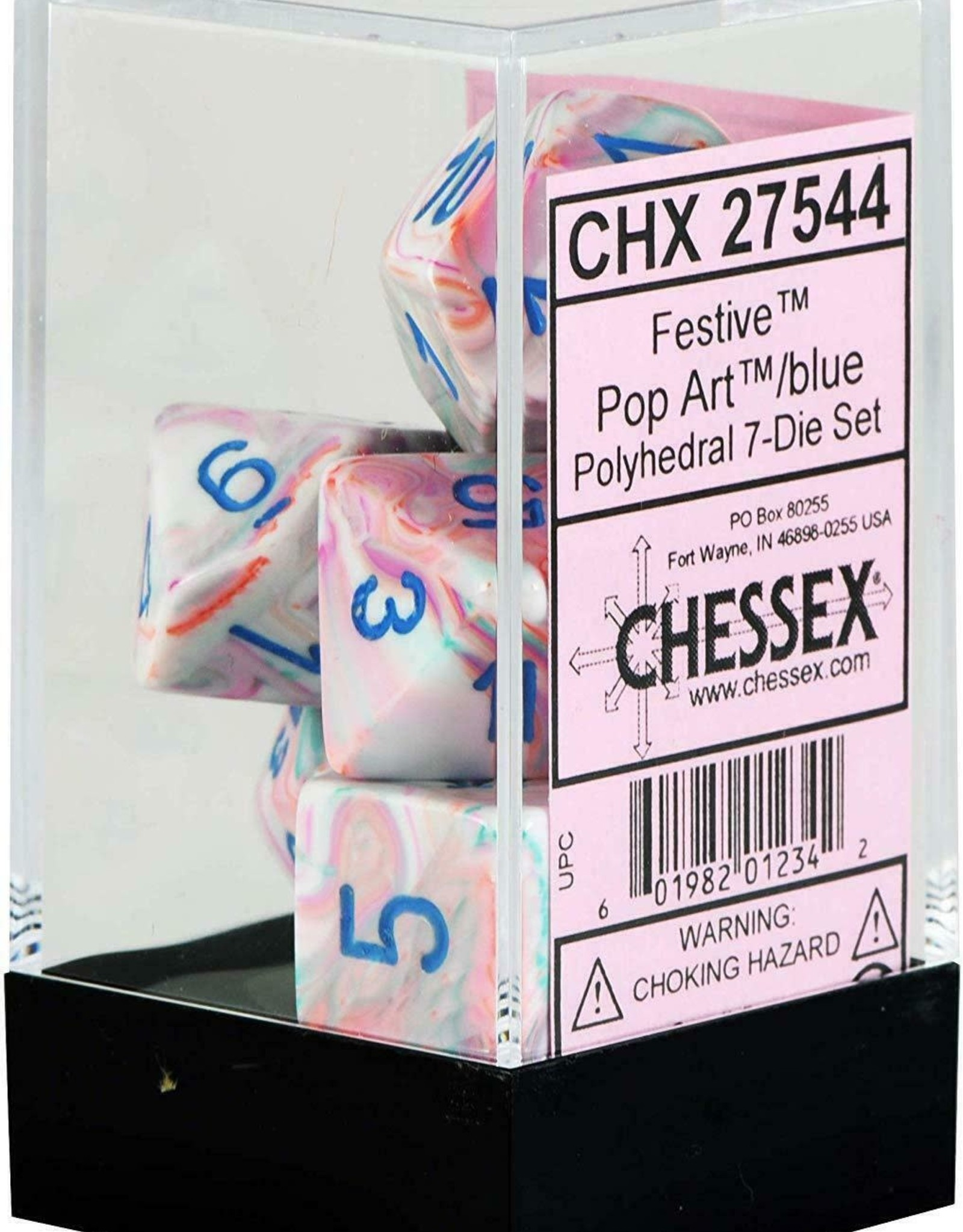 Chessex Festive Pop Art/blue Polyhedral Set