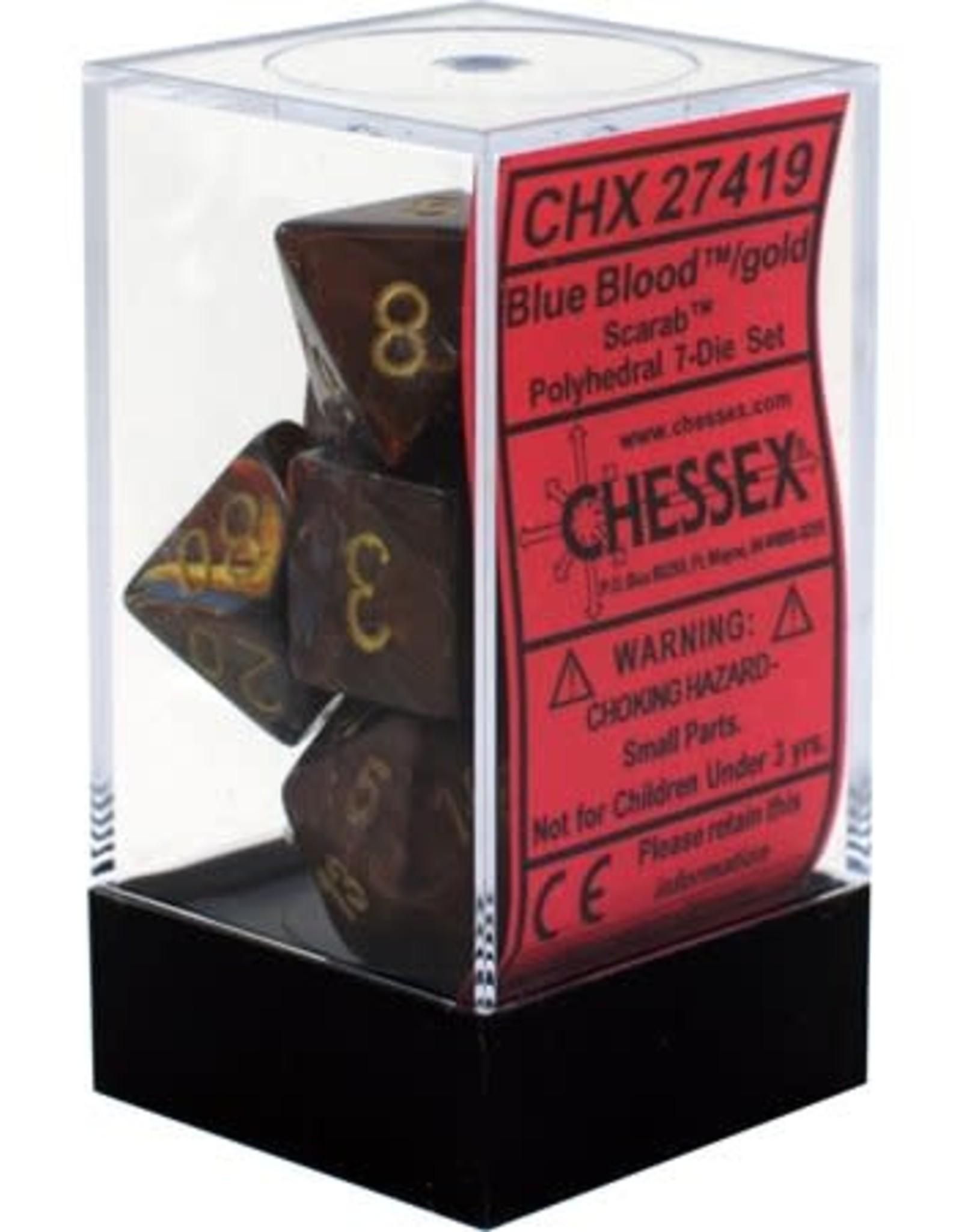 Chessex Scarab Blue Blood w/Gold Polyhedral Set