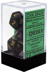 Chessex Gemini Black Green w/Gold Polyhedral Set
