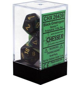 Chessex Gemini Black Green w/Gold Polyhedral Set