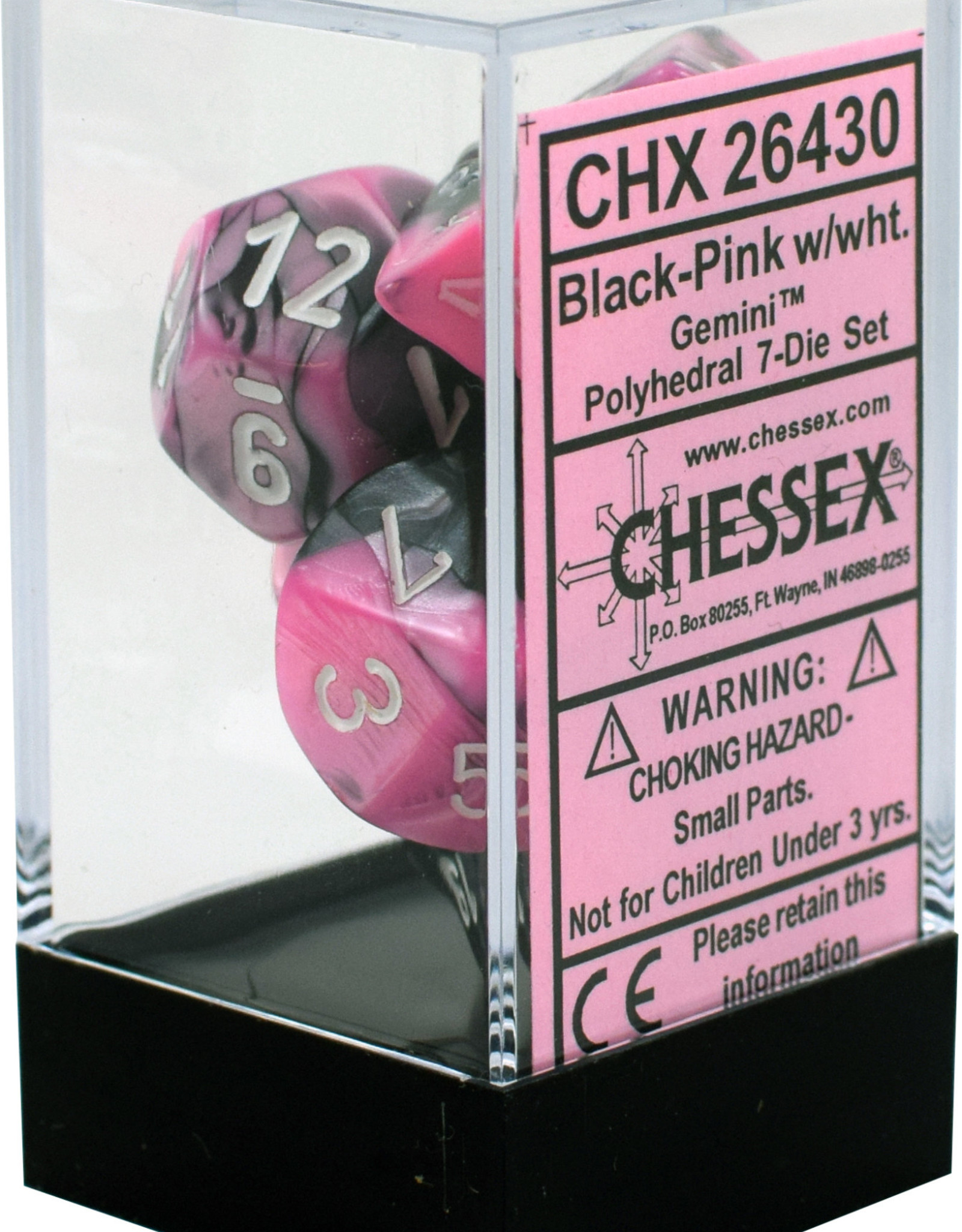 Chessex Gemini Black-Pink w/white Polyhedral Set
