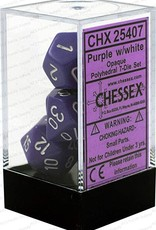 Chessex Opaque Purple w/white Polyhedral Set