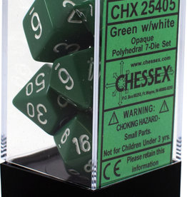 Chessex Opaque Green w/White Polyhedral Set