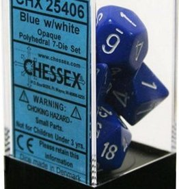 Chessex Opaque Blue w/white Polyhedral Set