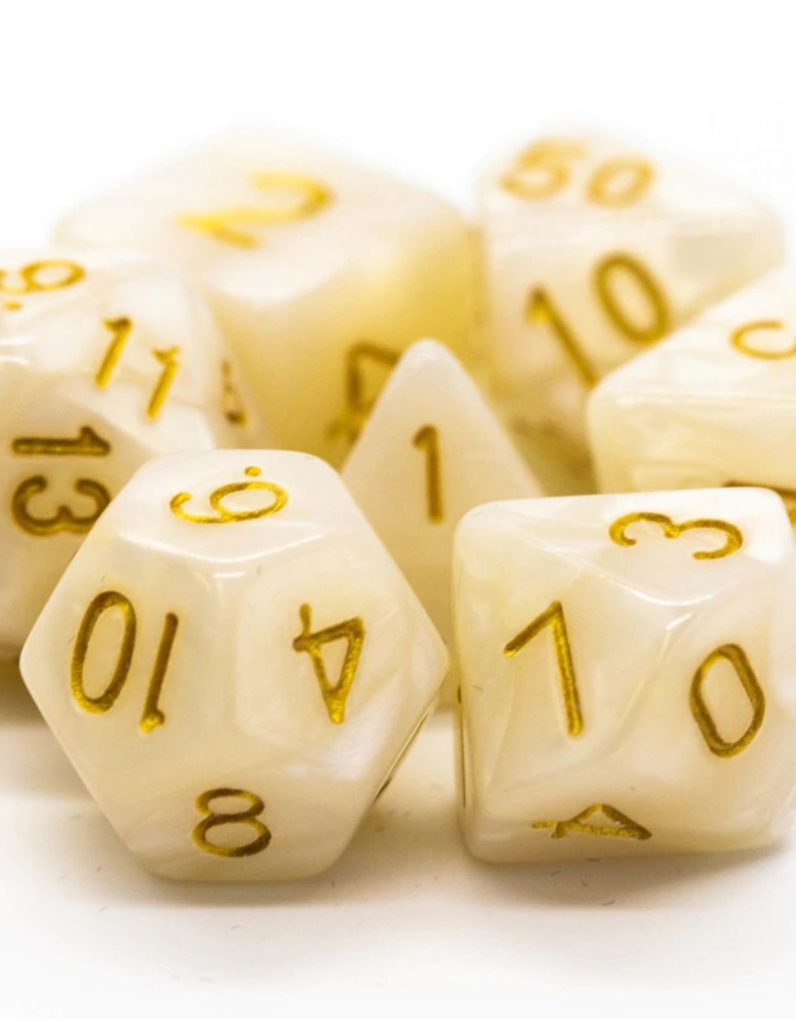 Old School Dice OSD Pearl Drop - White w/Gold