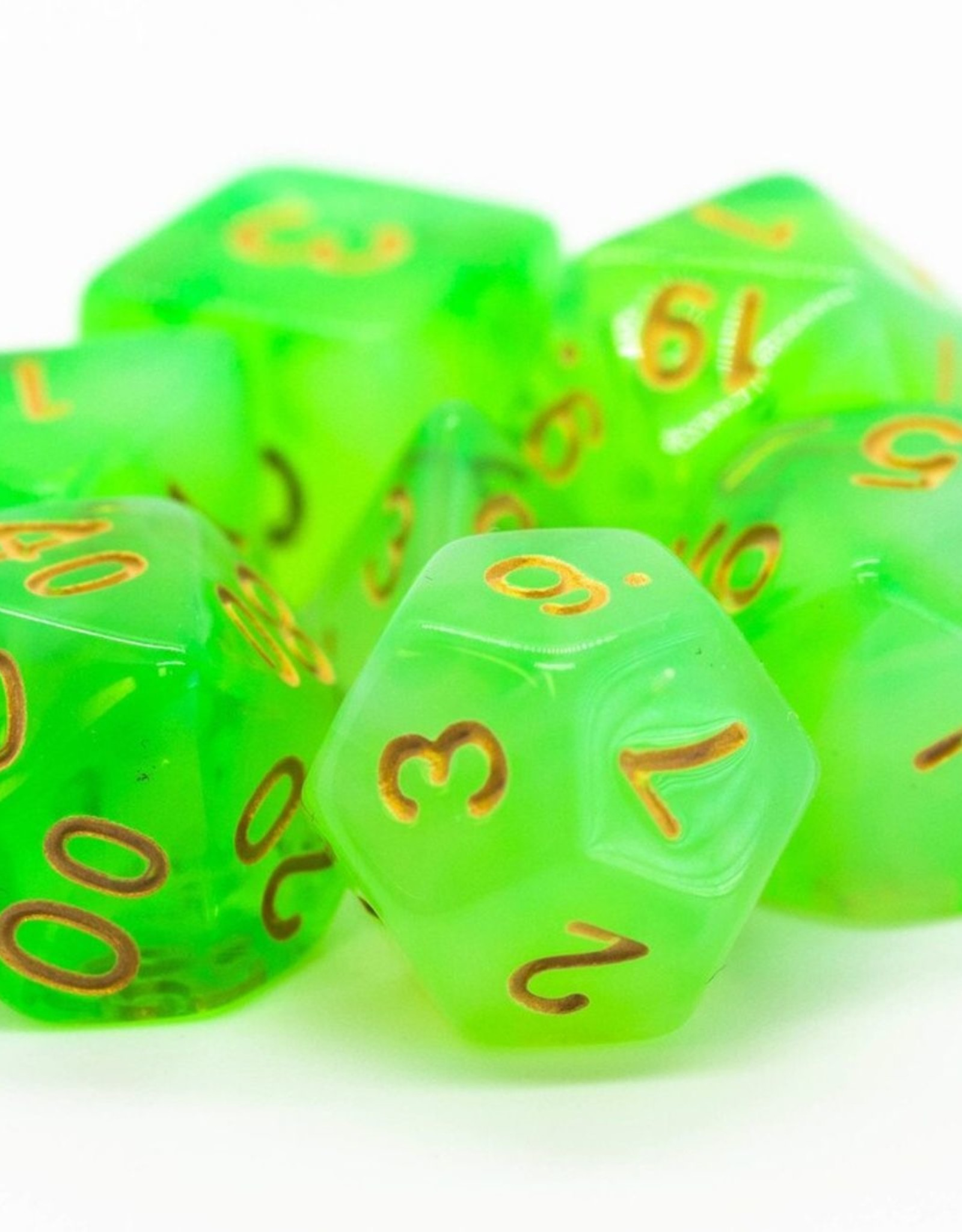 Old School Dice OSD Nebula - Lightning Green w/Gold