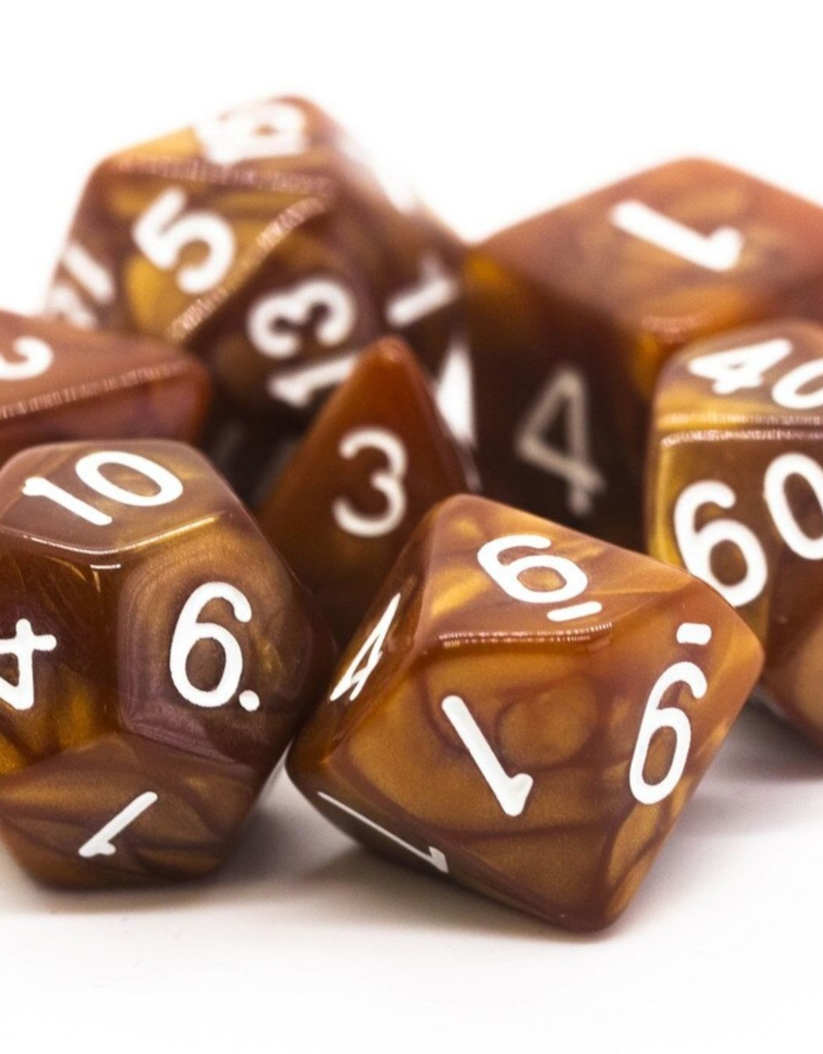 Old School Dice OSD Pearl Drop - Brown w/White
