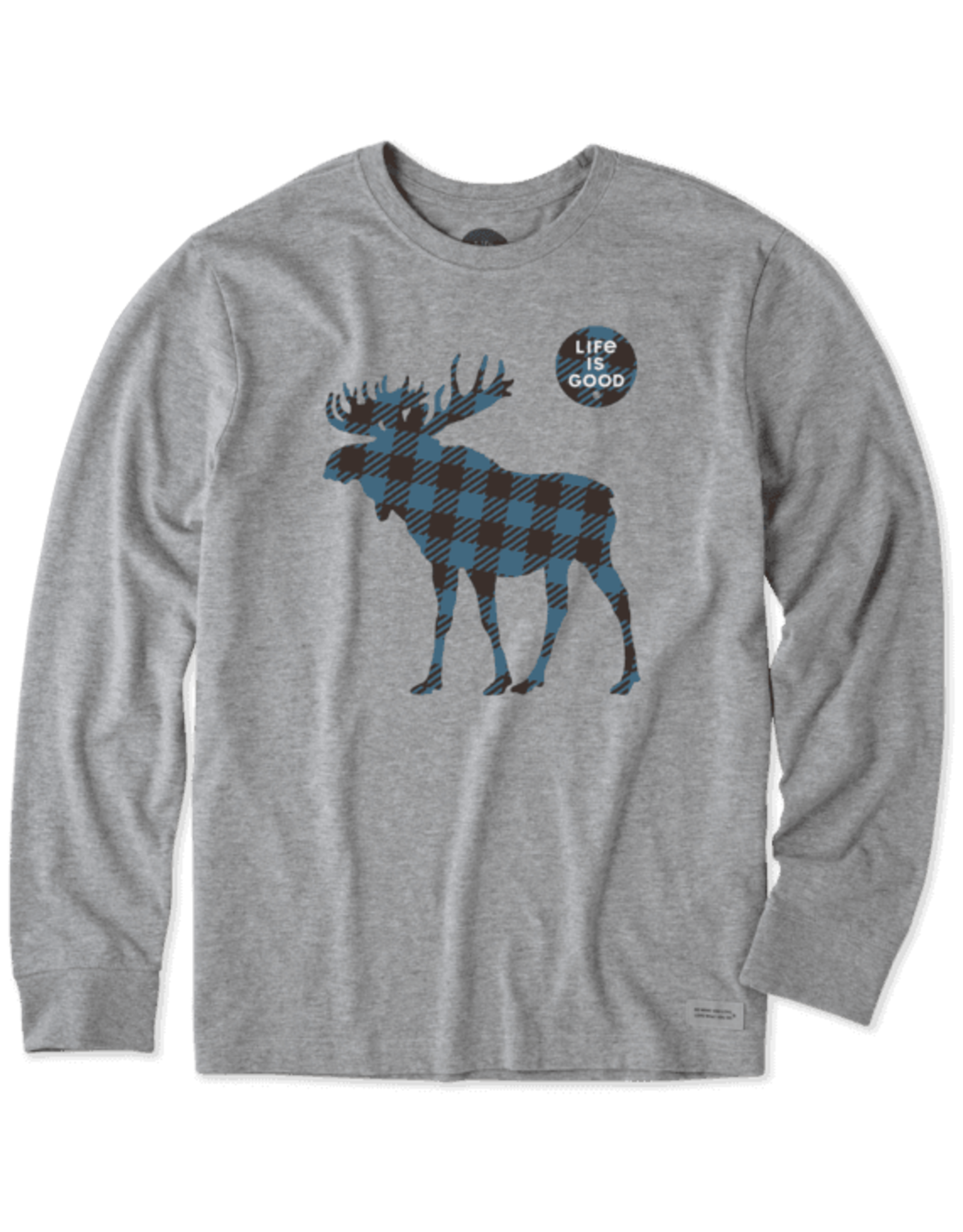 Life is Good M Plaid Moose LS