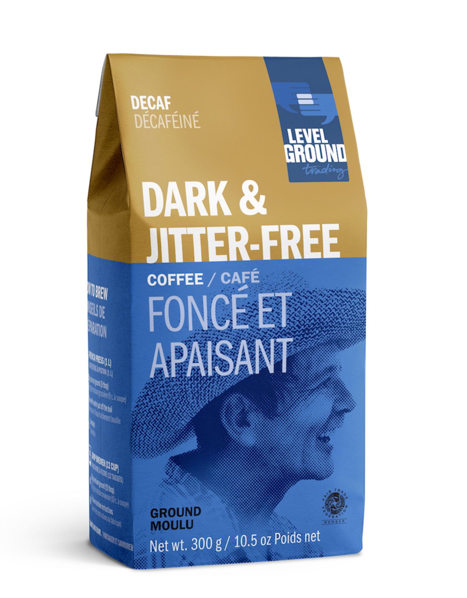 Level Ground Coffee, Decaf Colombia Dark Roast, Ground 300g