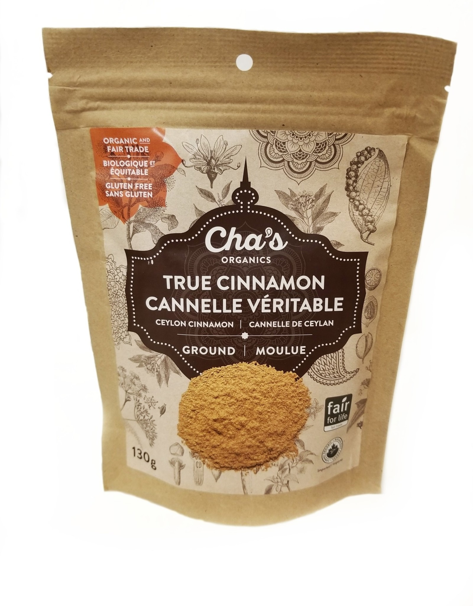 Cha's Organics Cha's Organic True Cinnamon, Ground 130g
