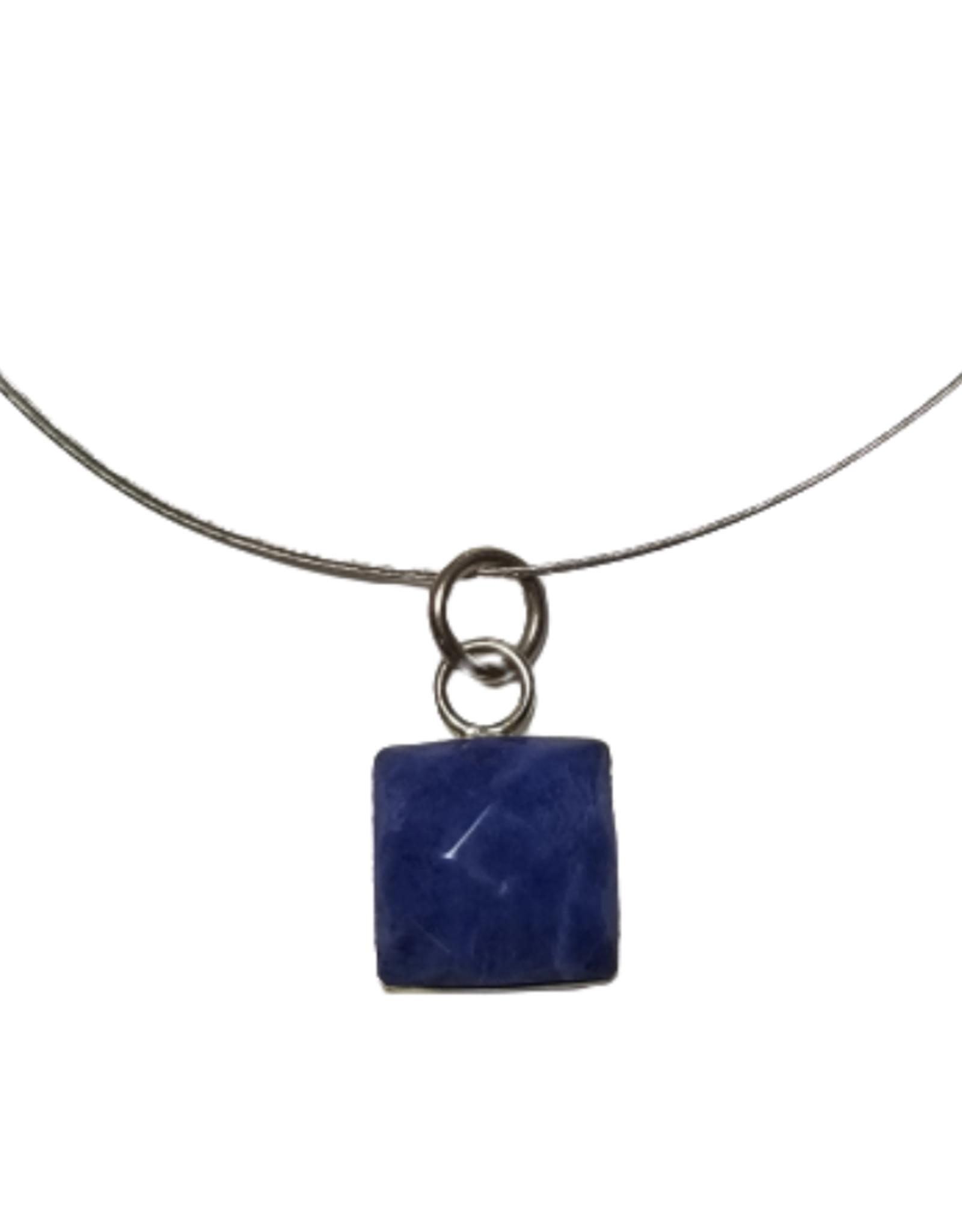 Sodalite & Silver Square Pendant Necklace