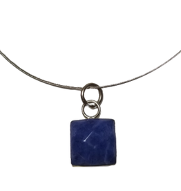 Sodalite & Silver Square Pendant Necklace