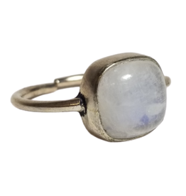 Silver Brass Ring with Moonstone