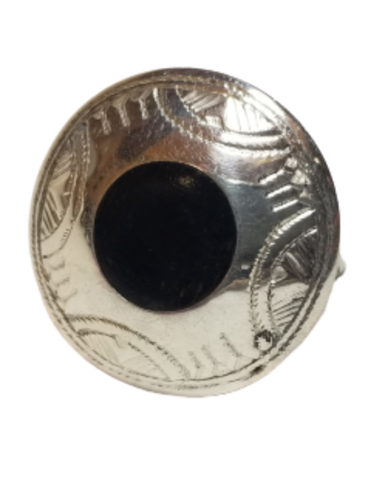 Ebony and Silver Disk Ring (Size 9)