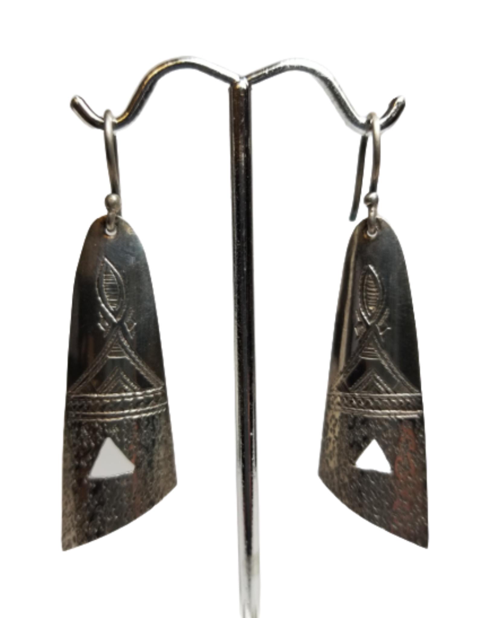 Ten Thousand Villages Etched Tuareg Drop Earrings