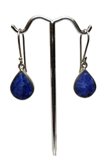 Sodalite And Silver Teardrop Earrings