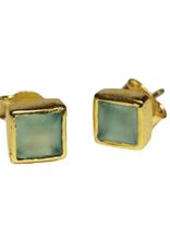 Green Glass Stud Earrings