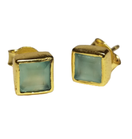 Green Glass Stud Earrings