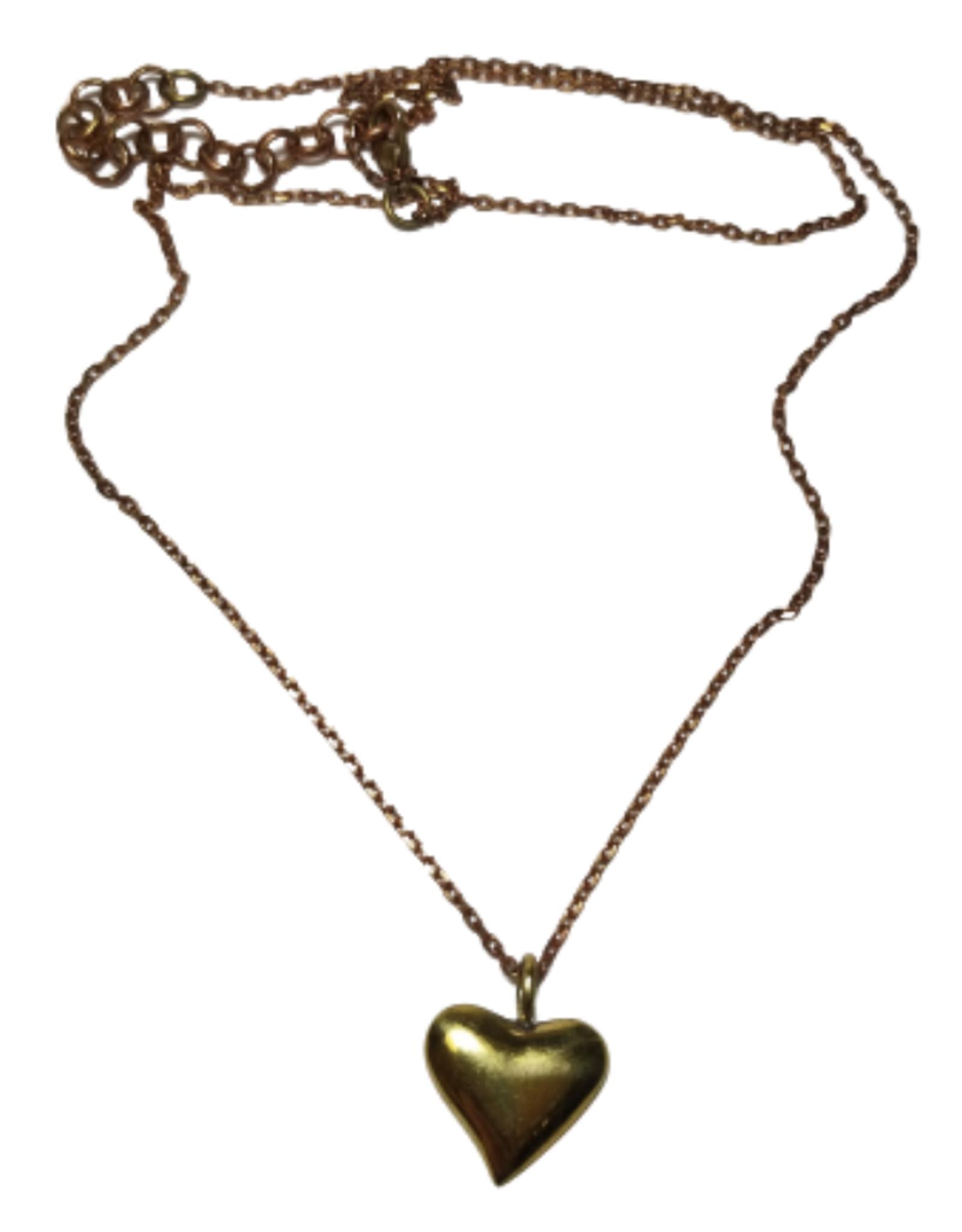 Brass Bombshell Heart Necklace