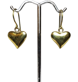 Brass Bombshell Heart Earrings
