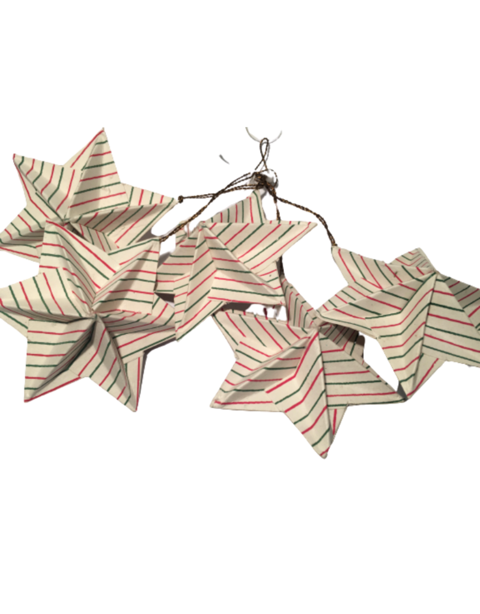 Ten Thousand Villages Ornament Stars Origimi Set5 Red/Green Stripes