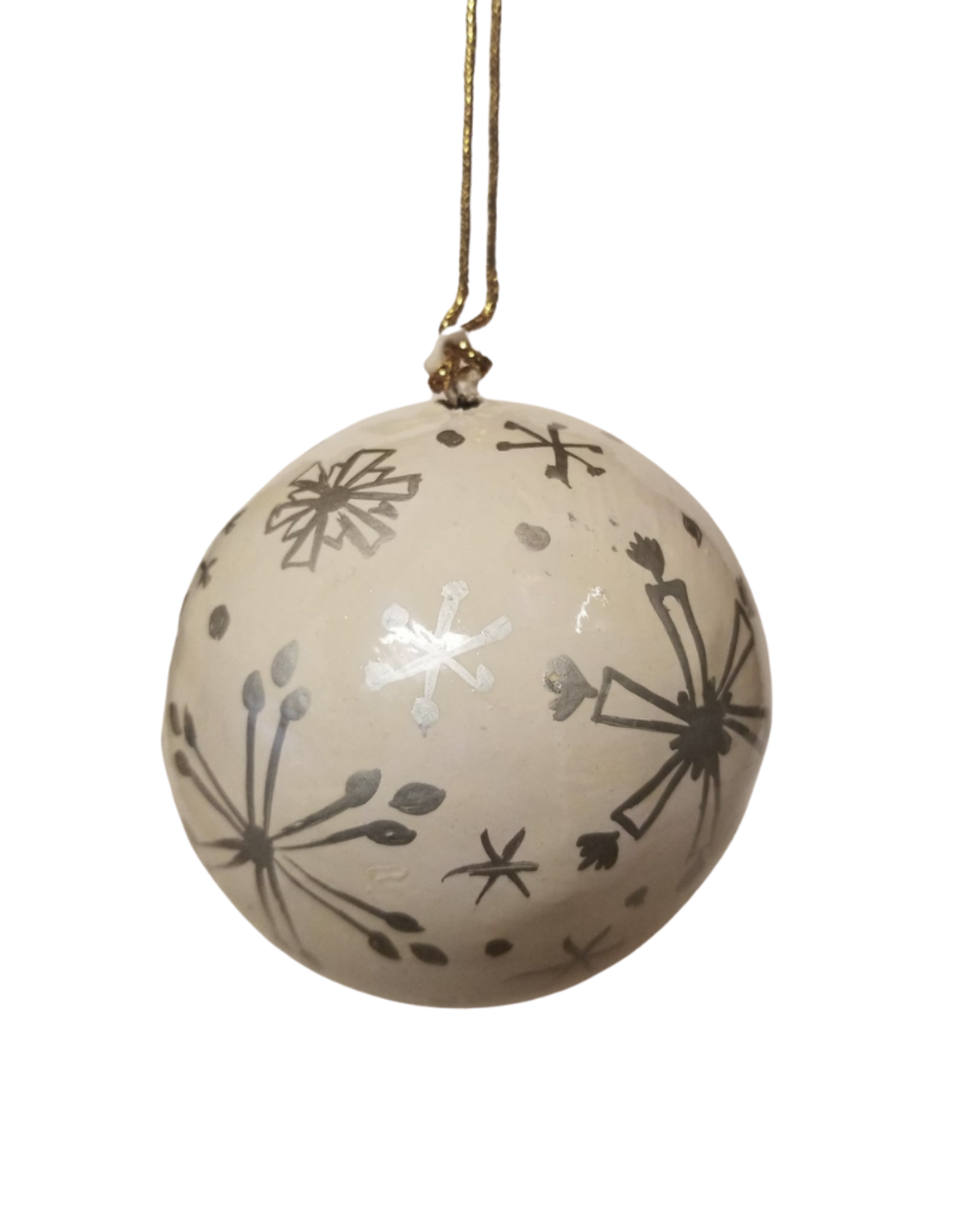 Global Crafts Ornament, Handpainted Silver Snowflakes - India