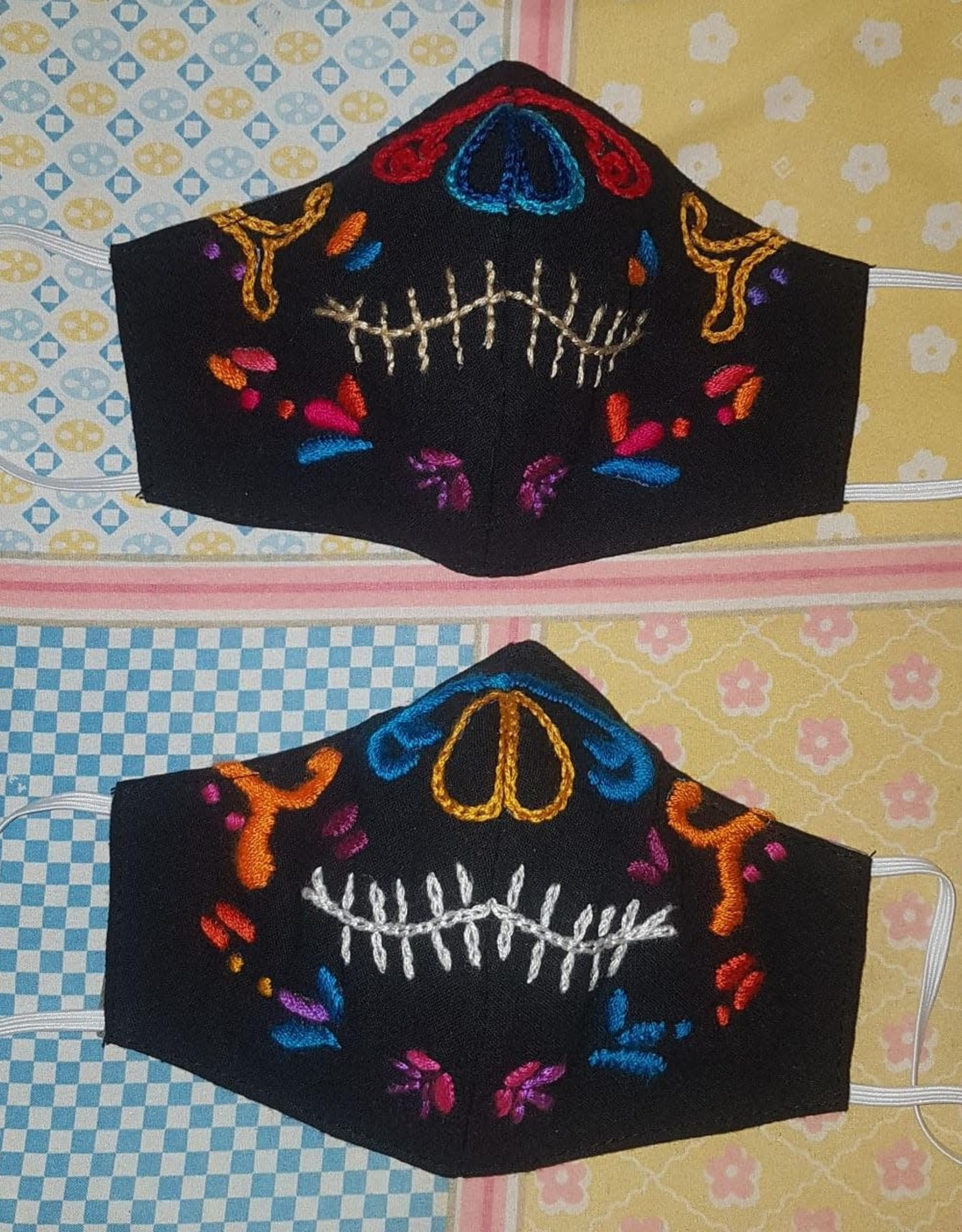 Face Mask Embroidered Smiley Teeth Duckbill