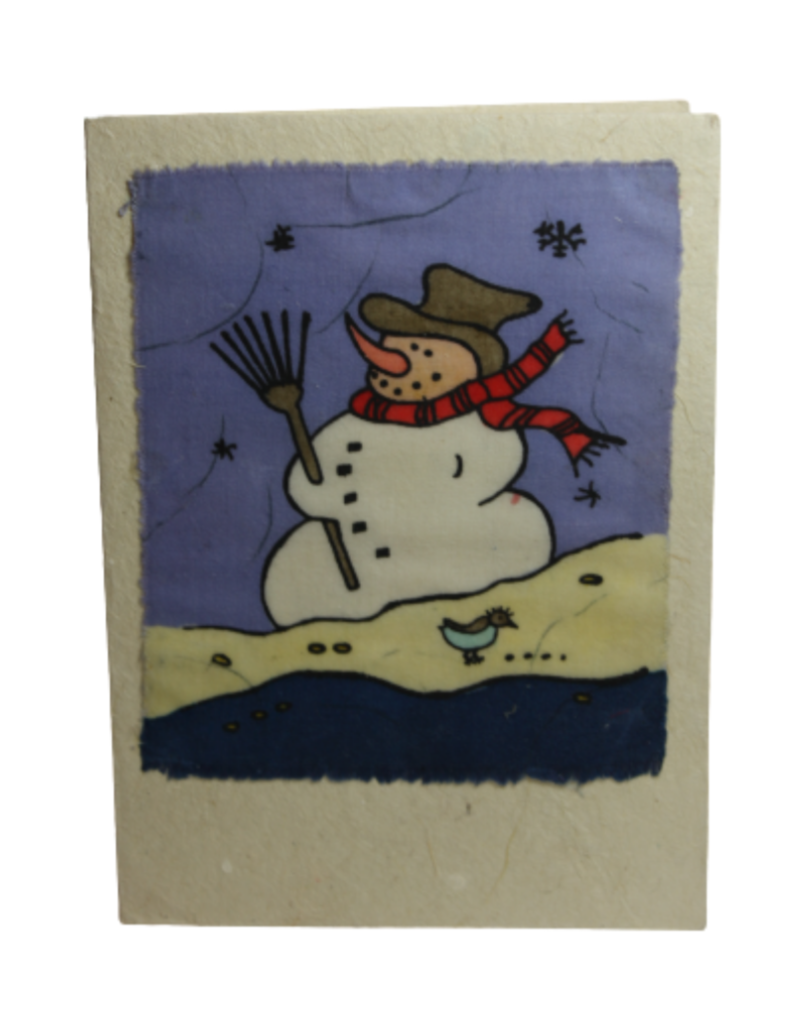 Eco Fair Christmas Card Snowman Batik