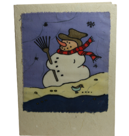Eco Fair Christmas Card Snowman Batik