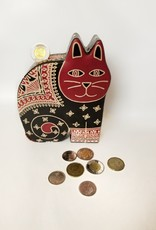 Ten Thousand Villages Bank Cat Black w/ Red Face Leather