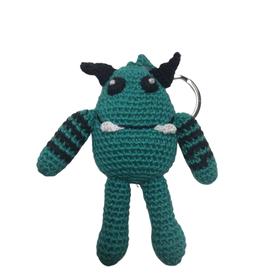 Pebbles Crocheted Monster Zipper Pull - Teal - Vietnam