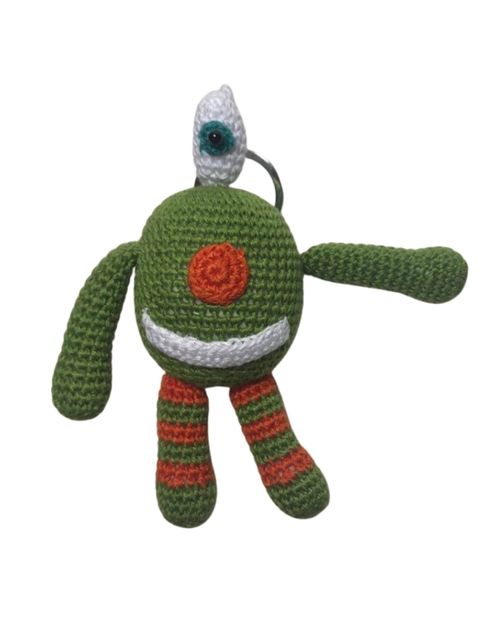 Pebbles Crocheted Monster Zipper Pull - Green