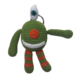 Pebbles Crocheted Monster Zipper Pull - Green - Vietnam