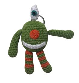 Pebbles Crocheted Monster Zipper Pull - Green