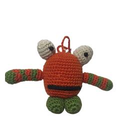 Pebbles Crocheted Monster Zipper Pull - Orange - Vietnam