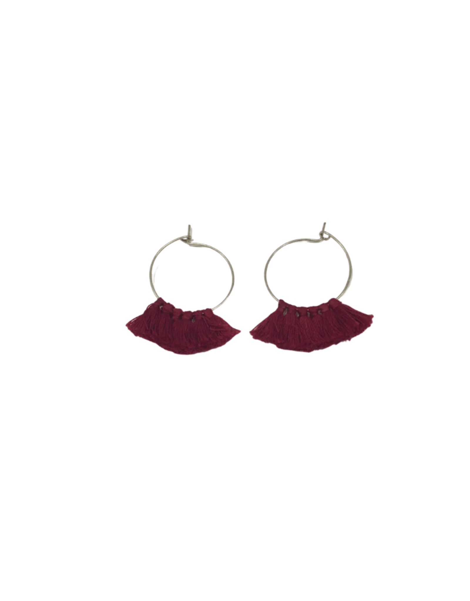 Ten Thousand Villages Burgundy Tassel Earrings