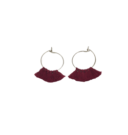 Ten Thousand Villages Burgundy Tassel Earrings