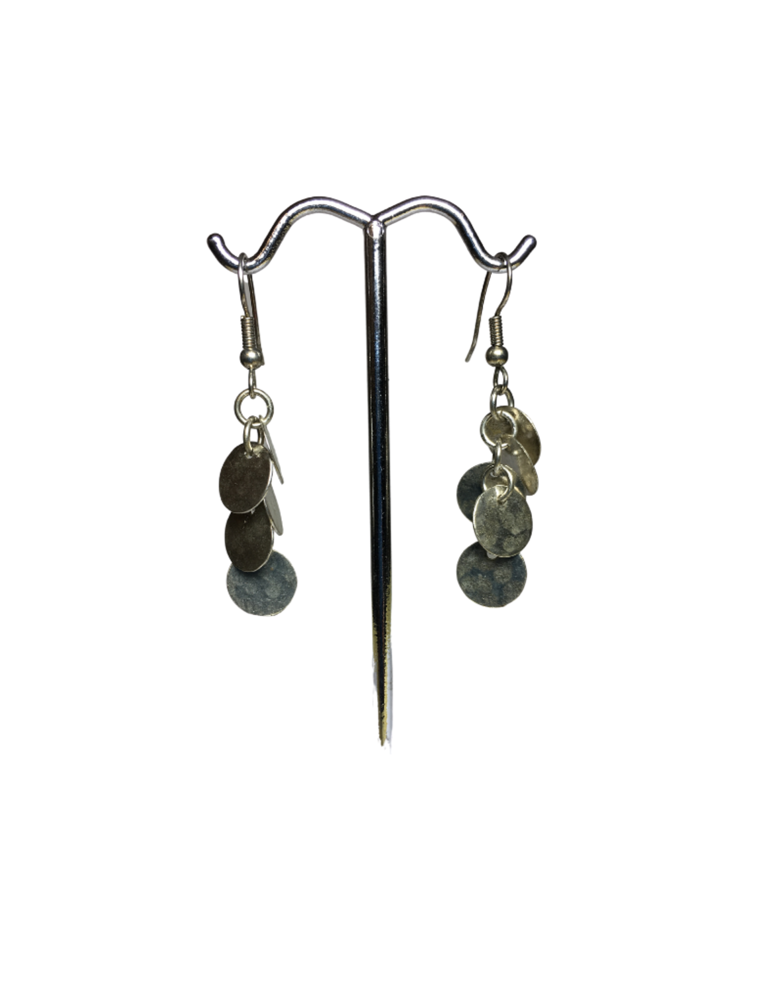 Ten Thousand Villages Metal Disk Cluster Earrings