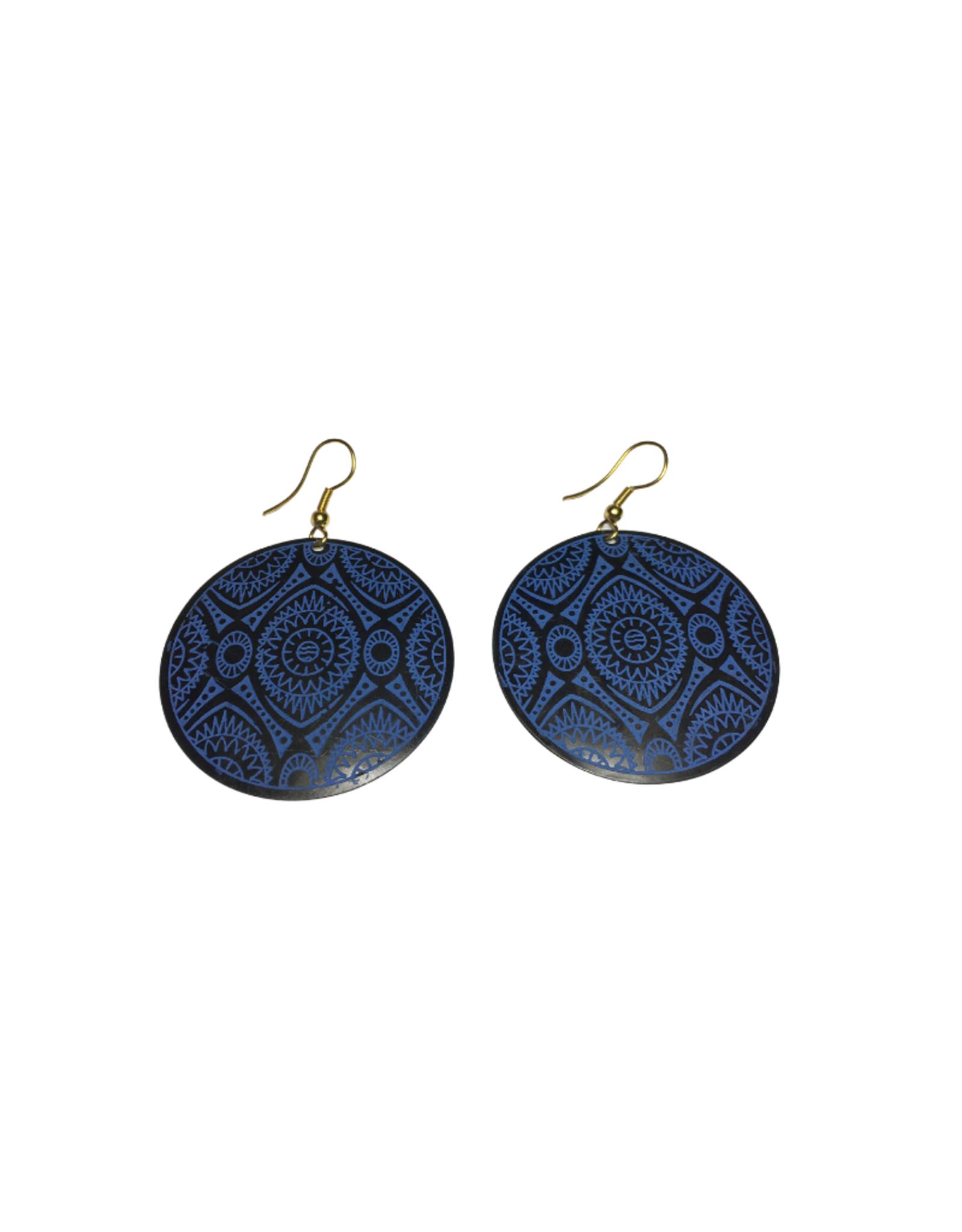 Ten Thousand Villages Blue Geometric Disk Earrings