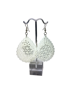 Ten Thousand Villages White Bone Lattice Drop Earrings