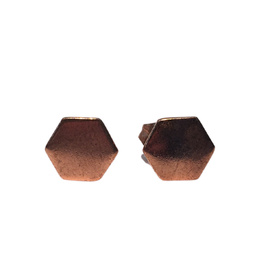 Ten Thousand Villages Rose Gold Hexagon Earrings